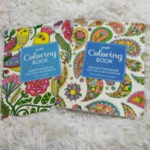 Two Adult Coloring Books By Posh - NEW